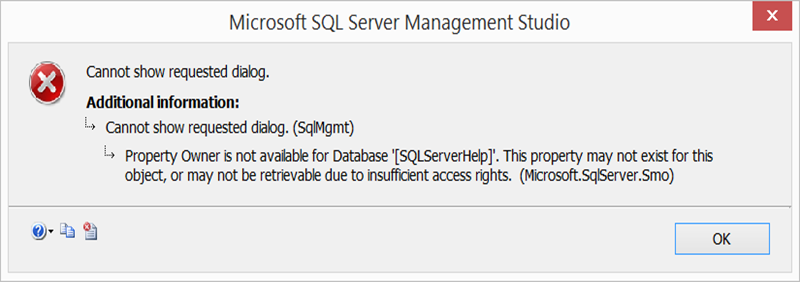 Cannot execute as the database principal because the principal cannot show requested dialog sqlmgmt property owner is not available for database sqlserverhelp this property may not exist for this ccuart Images
